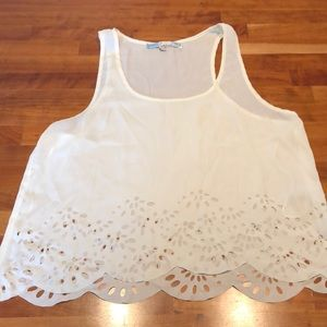 Tops - White Flowey Tank Top Size Large